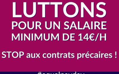 14 mars – Equal Pay Day : pour un salaire minimum de 14€ de l'heure (2300€/mois)