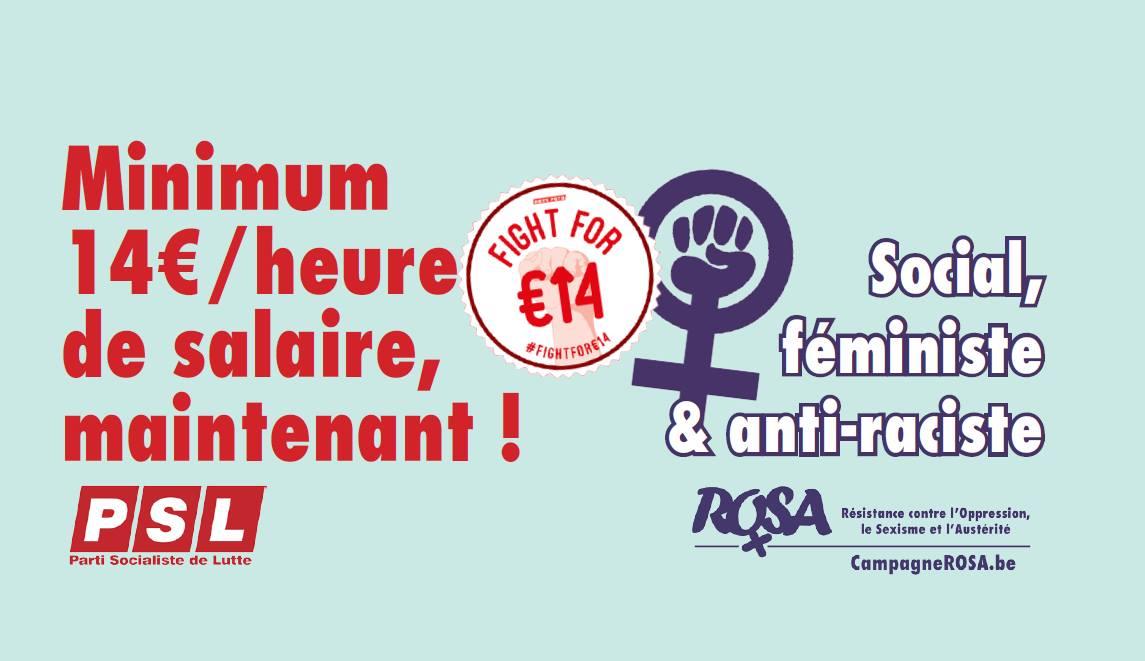Le salaire minimum de 14€/h : social, féministe & antiraciste !