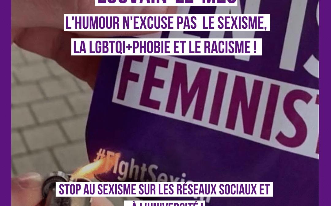 Louvain-le-Mec: L'humour n'est pas une excuse au sexisme !