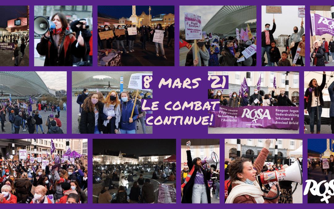 Résistance ! Ce 8 mars 2021 a confirmé la détermination à riposter face au sexisme !